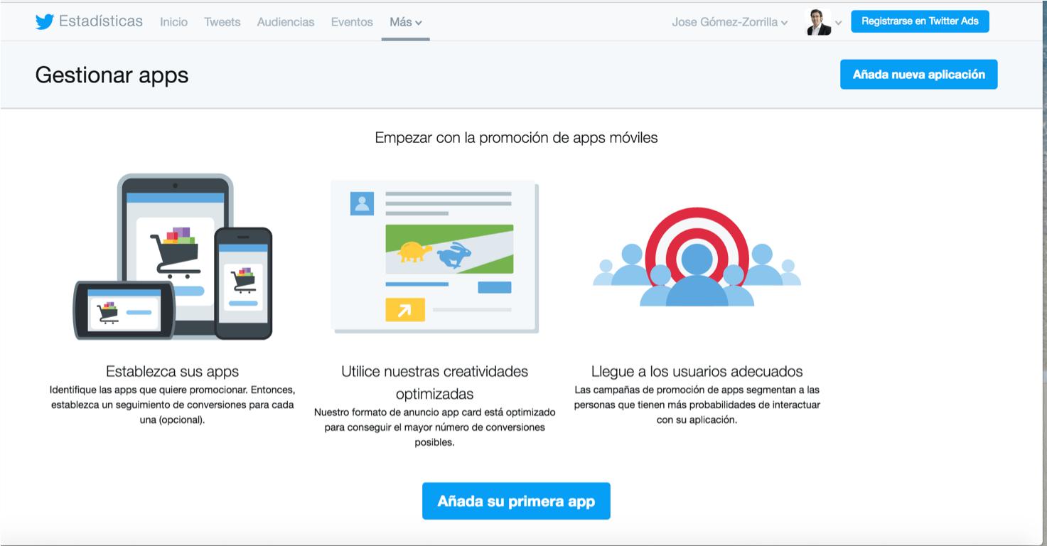 Apps en Twitter Analytics