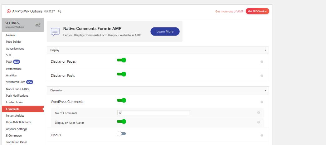 Implementar comentarios en posts AMP