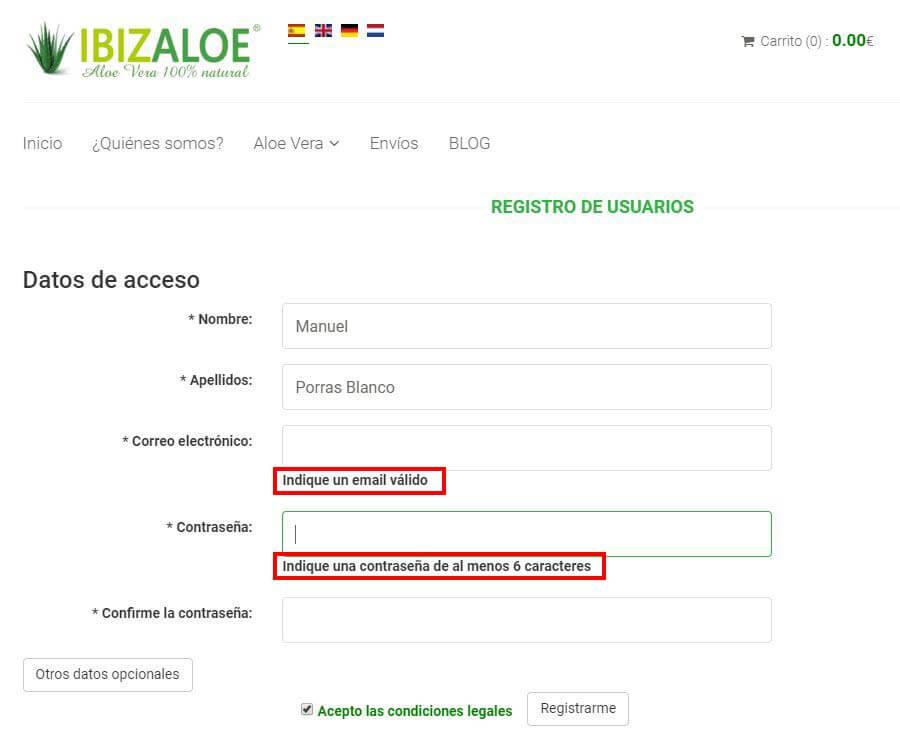 ejemplo usabilidad web