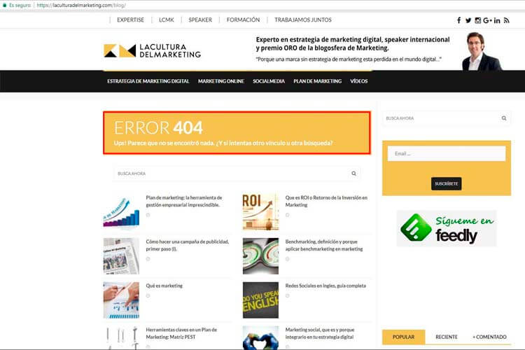 ejemplo usabilidad web error 404